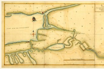 Antique map of Lake Ontario and the St. Lawrence river.
