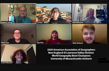 """Zoom screenshot of UMass Geography Club members with text: """"2020 American Association of Geographers New England-St Lawrence Valley Division World Geography Bowl Champions University of Massachusetts Amherst"""