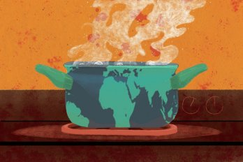 Clip art of grey pot boiling over on stove in front of orange wall. Sea-green stains on side of pot resemble the shapes of the contients on planet Earth.