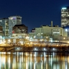 Skyline of Hartford, CT over the Connecticut River at Night.